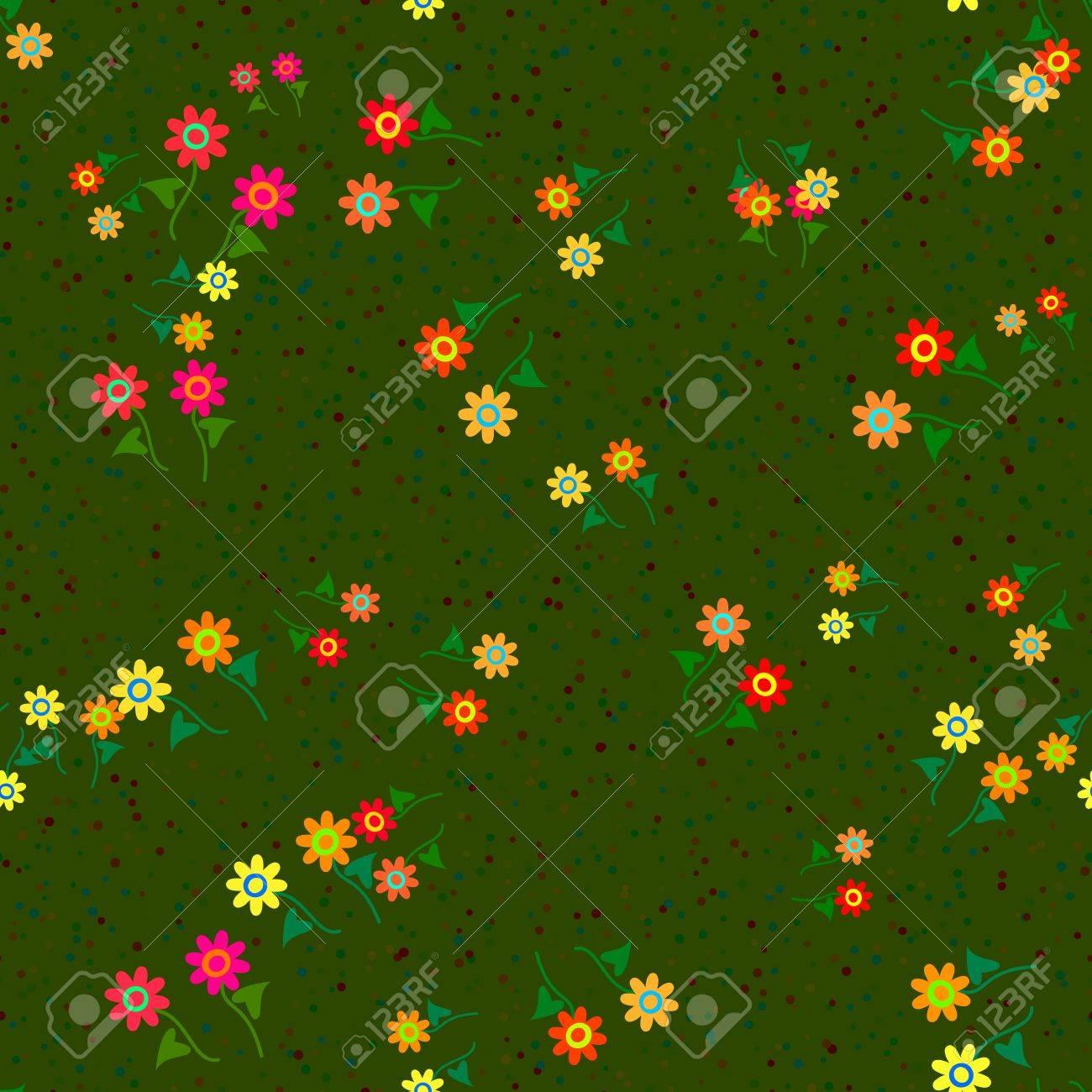 Immagini Stock Fiori Rossi Gialli E Arancione Su Sfondo Verde