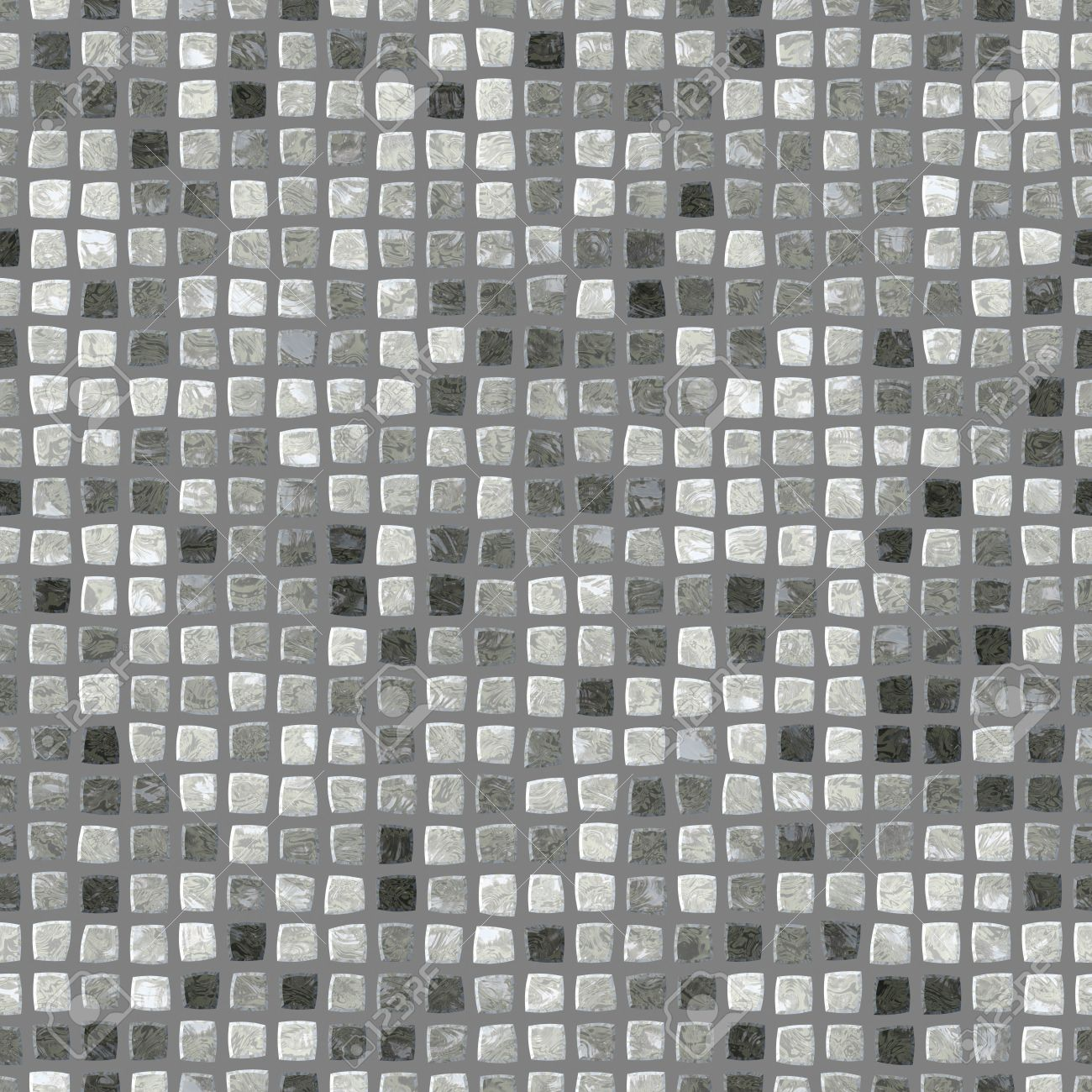 Black White Grey Retro Mosaic Pattern Seamless Digitally Rendered