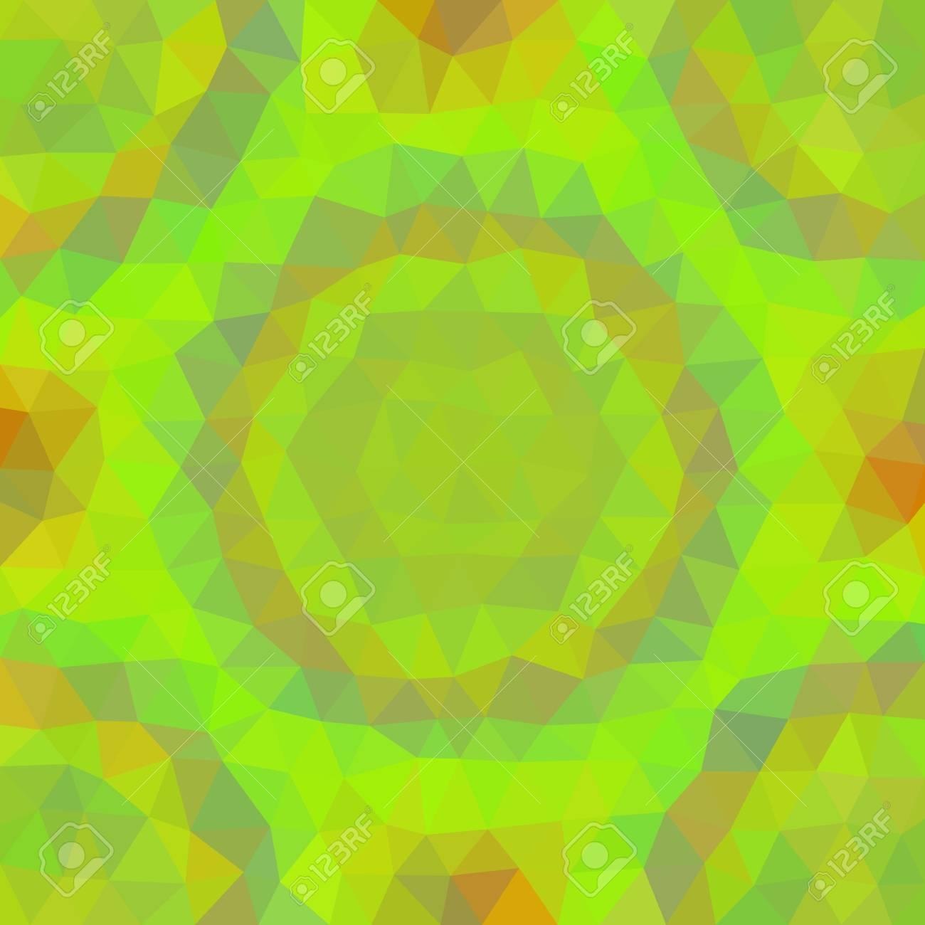 Résumé Jaune De Couleur Orange Faible Motif Poly Triangulaire Vert ...