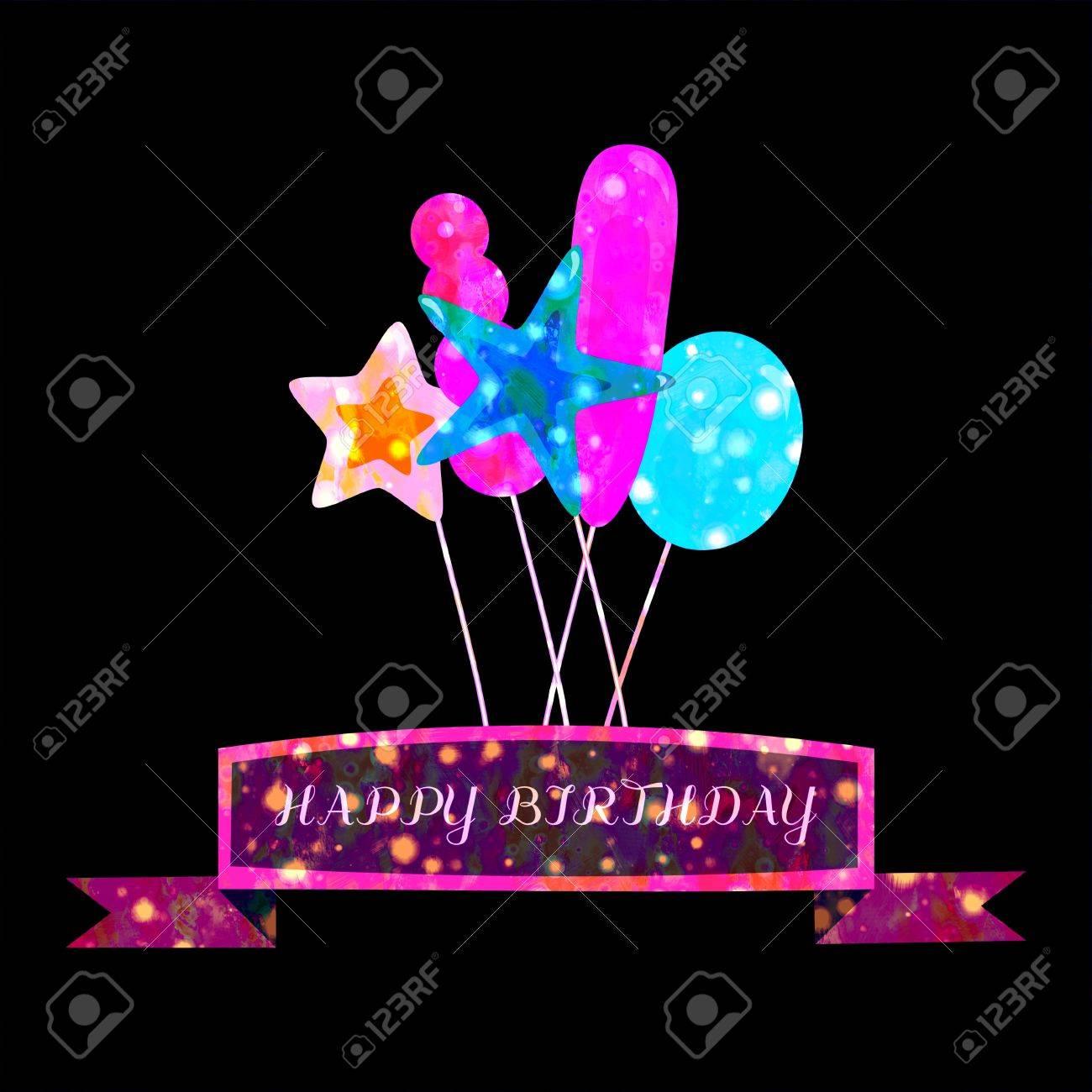 Carte D Anniversaire Foncee Sombre Avec De Petits Points Lumineux Lumieres Disco Sur Les Ballons D Air De La Fete Et Le Ruban Avec Le Texte Joyeux Anniversaire Sur Fond Noir Banque D Images