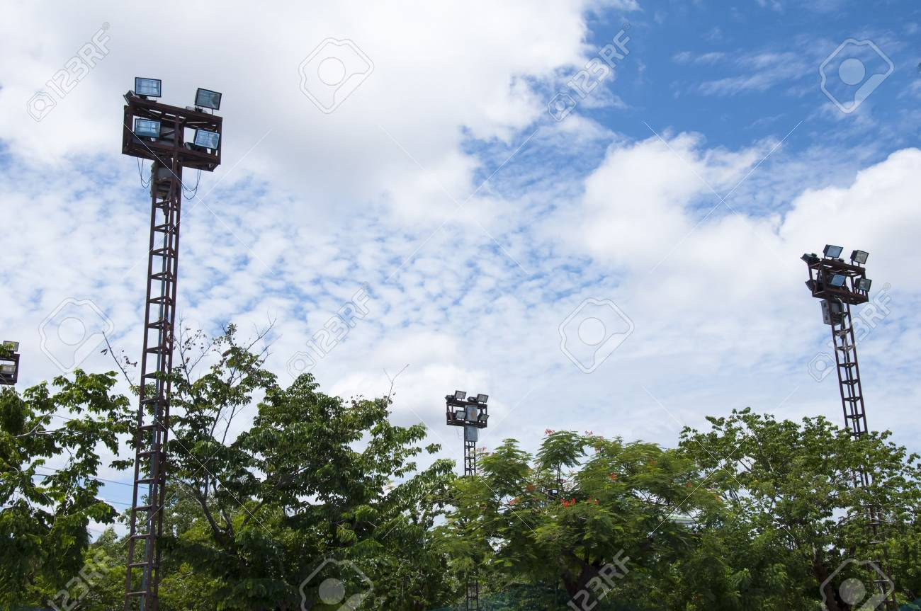 Lighting tower of stadium, Thauland Stock Photo - 14507671