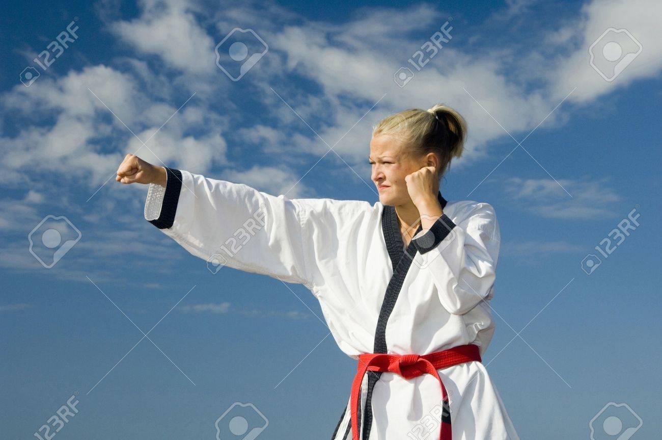 Woman practising taekwondo Stock Photo - 3194011