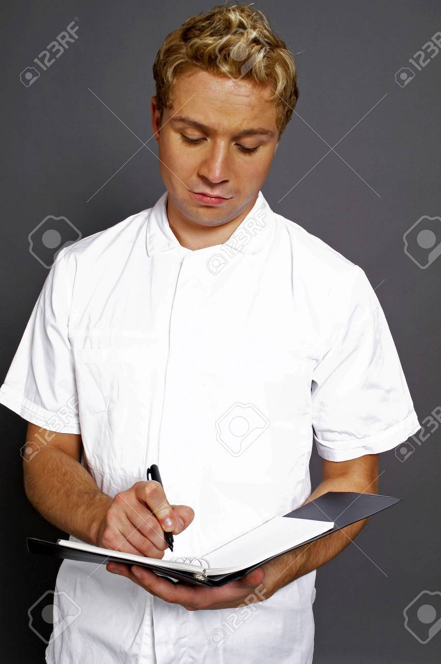 Male doctor on duty. Stock Photo - 3192227