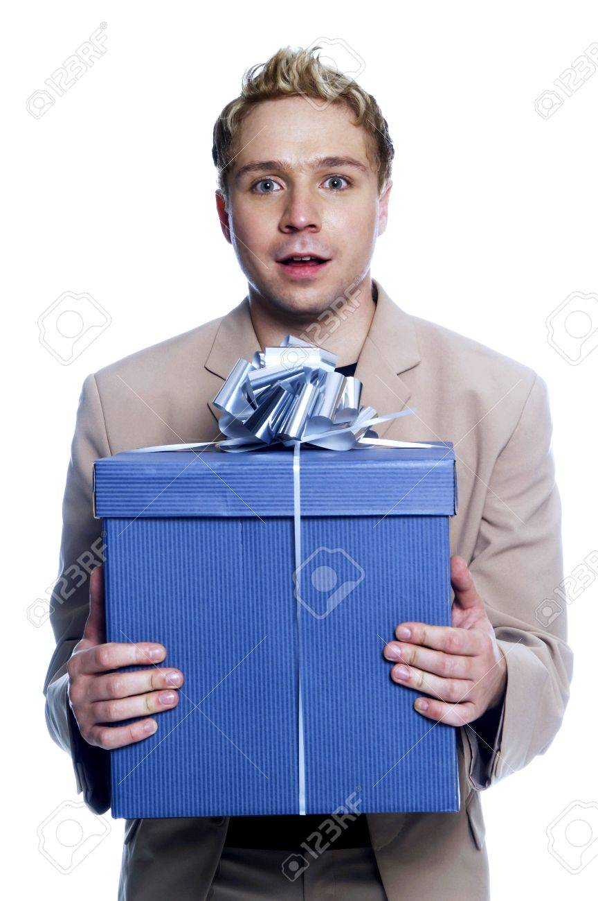 Man holding a big box of present. Stock Photo - 3192252