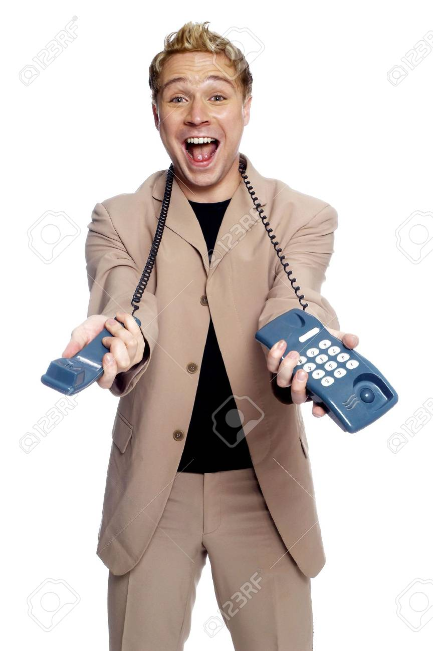 Businessman holding a telephone. Stock Photo - 3192255