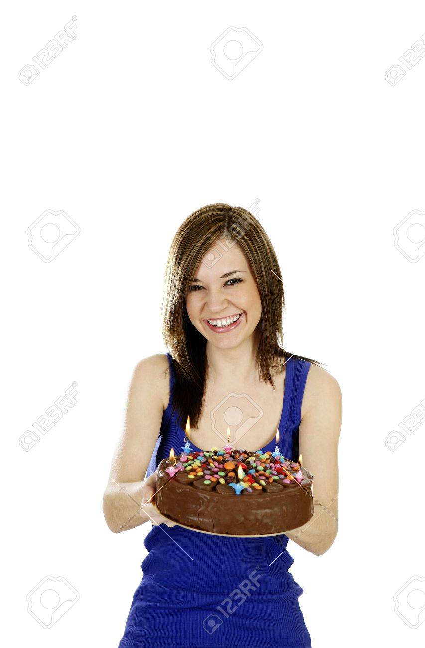 Woman holding a birthday cake. Stock Photo - 3192665