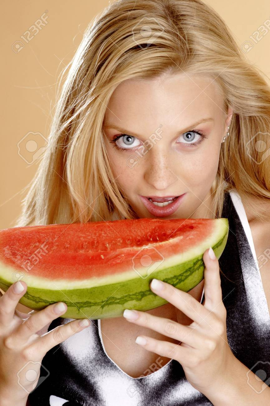 Woman Model With Water-melon On Head Stock Photo - Image: 48038825