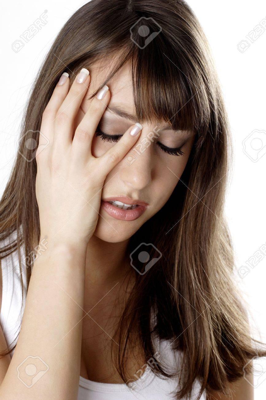 Woman having headache. Stock Photo - 3191303