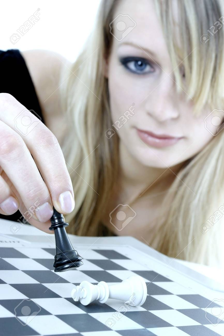 Woman playing chess game. Stock Photo - 3191307