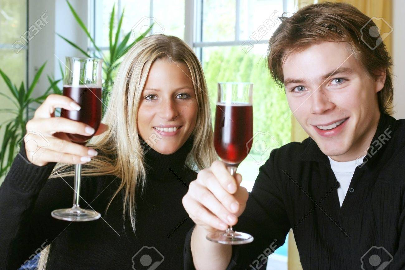 Man and woman proposing a toast. Stock Photo - 3191370