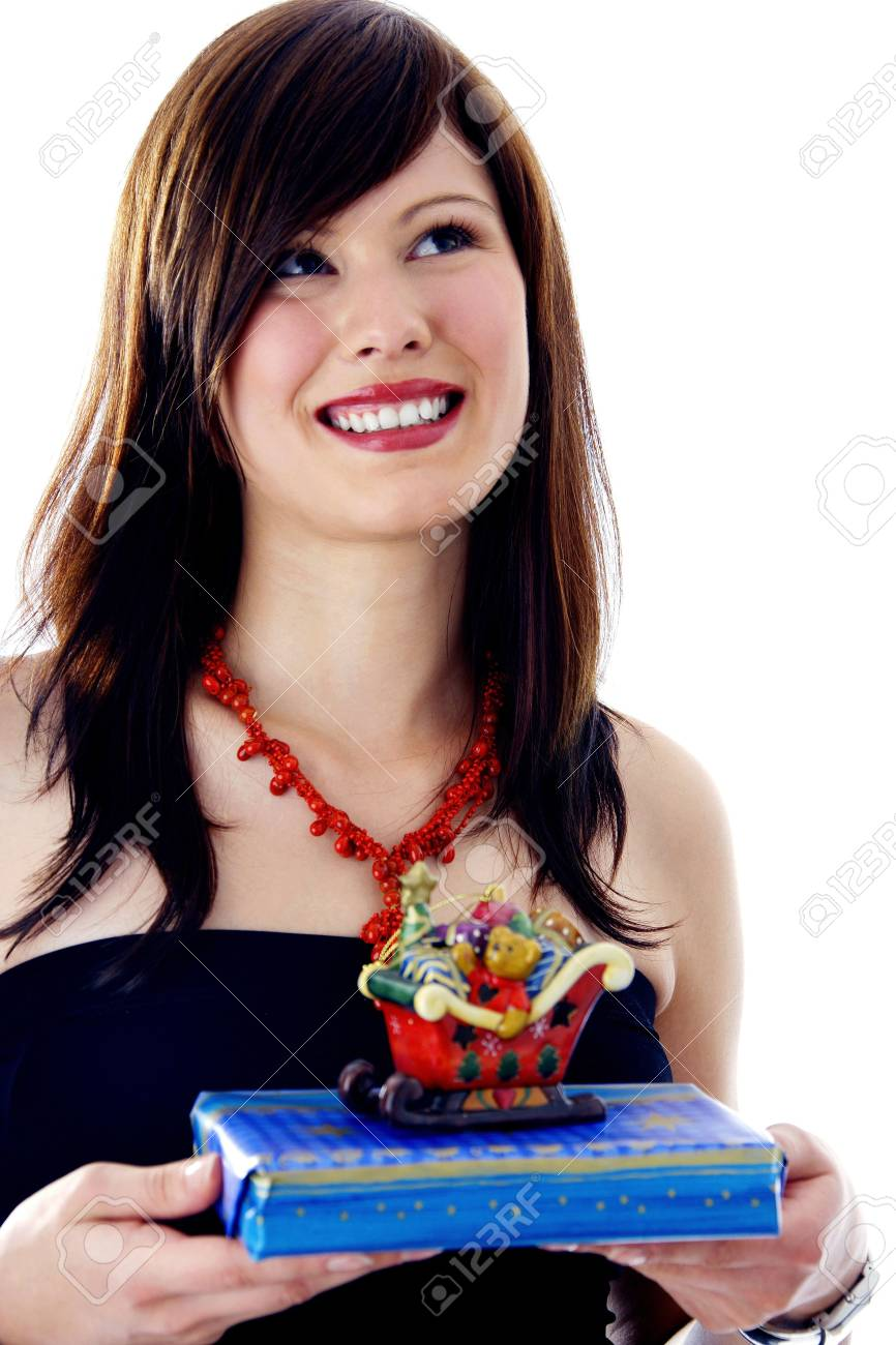 Woman holding her Christmas gifts Stock Photo - 3191976