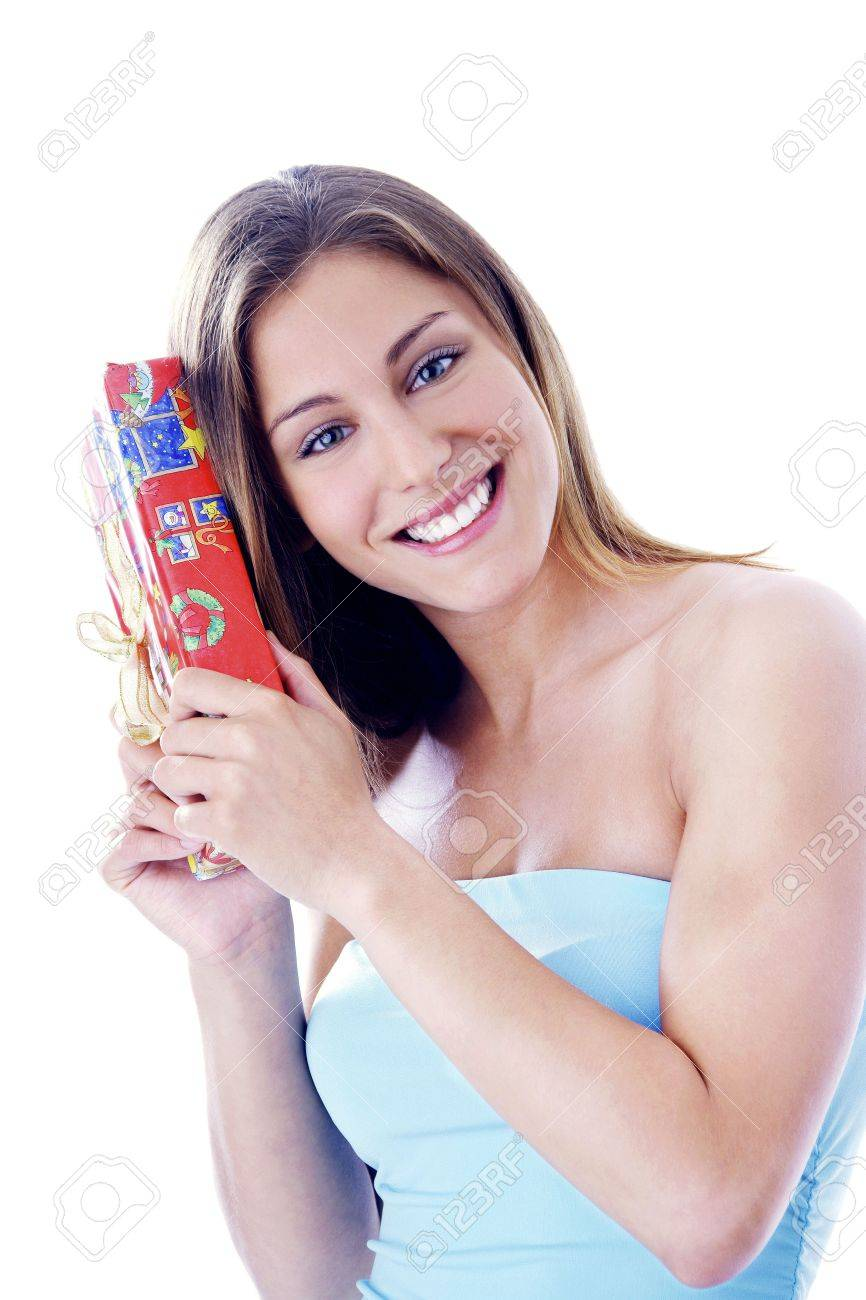 Woman holding a gift Stock Photo - 3191980