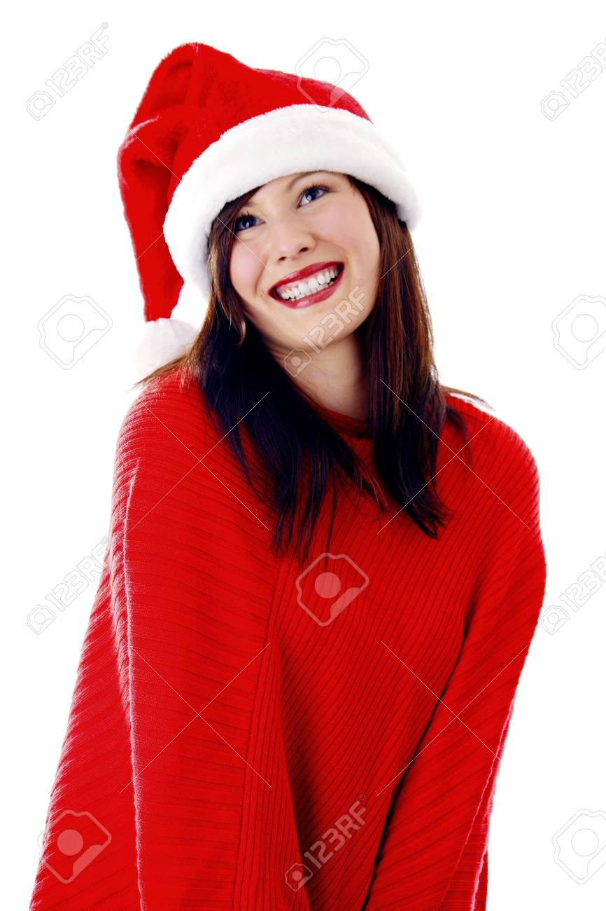 Beautiful woman in poncho and snow hat Stock Photo - 3191983