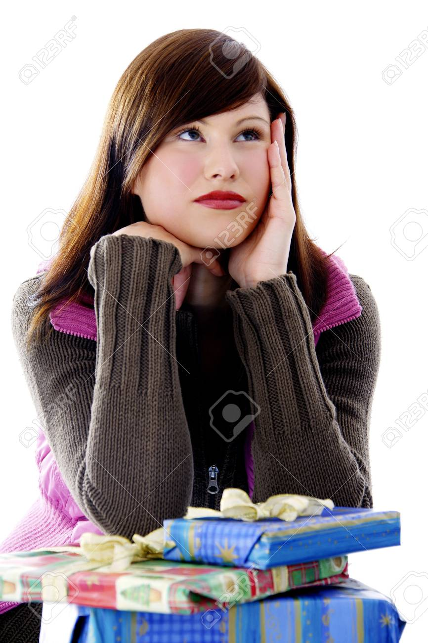 Woman with her presents, looking away Stock Photo - 3191991