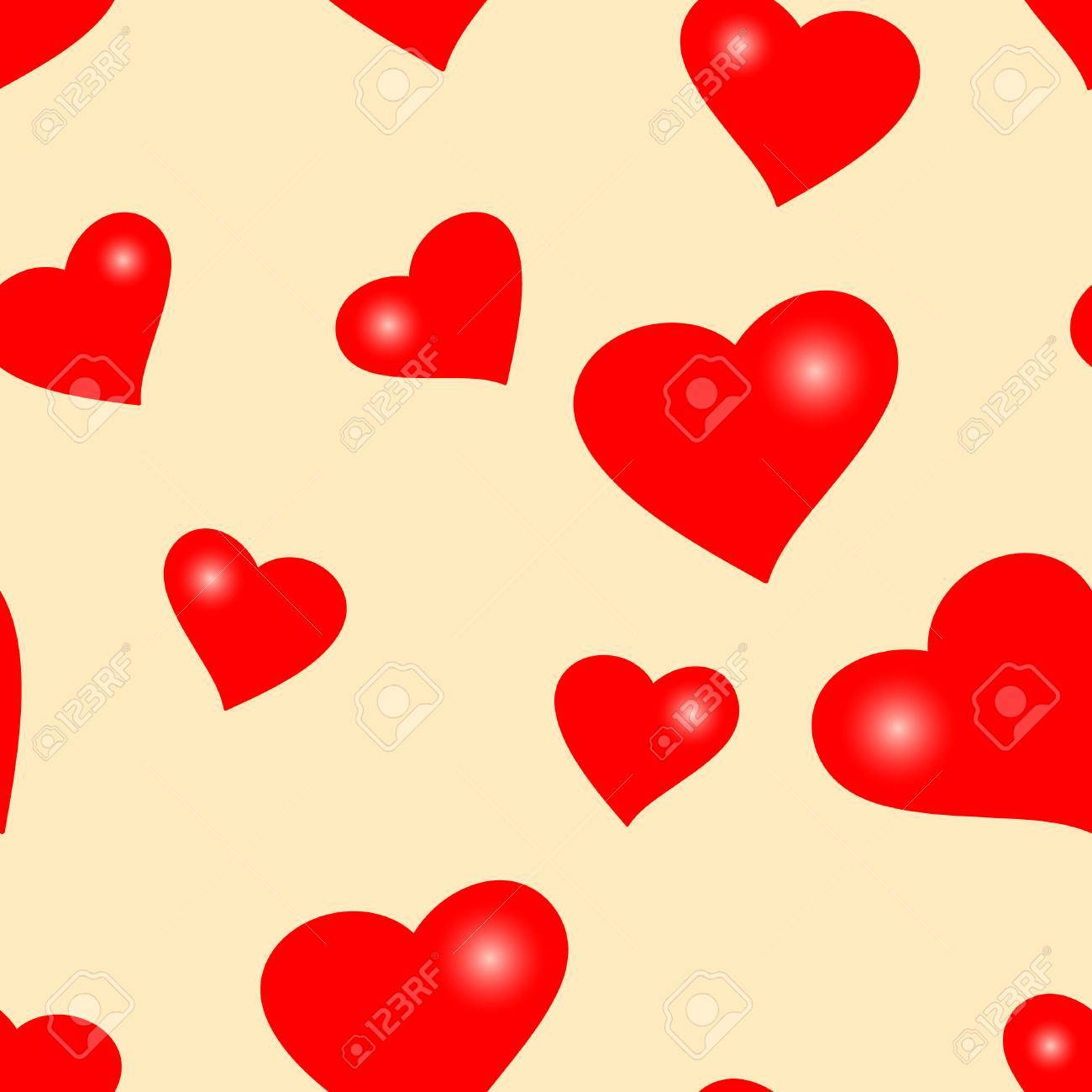 Seamlessly vector wallpaper valentine with hearts Stock Vector - 2307997