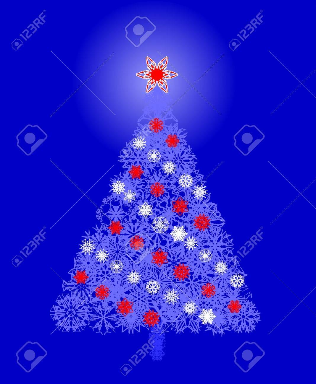 Winter vector snowflake blue tree Stock Vector - 2397288