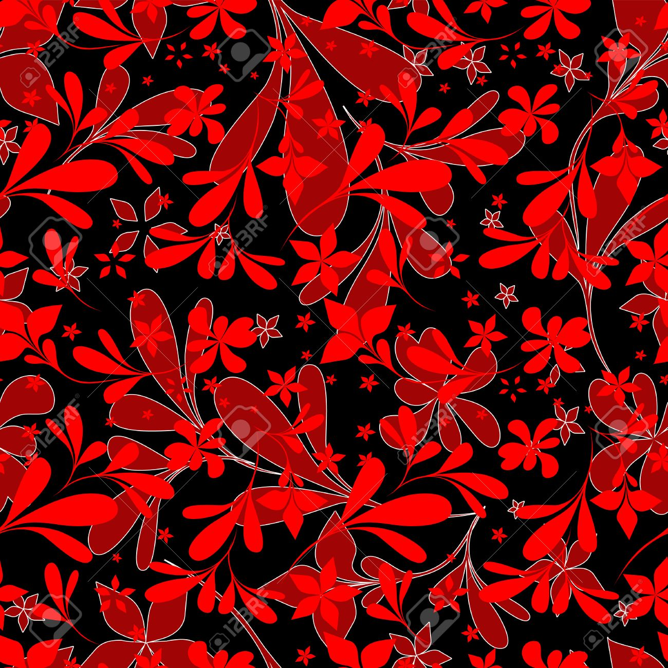 Seamless Black Red Flower Wallpaper
