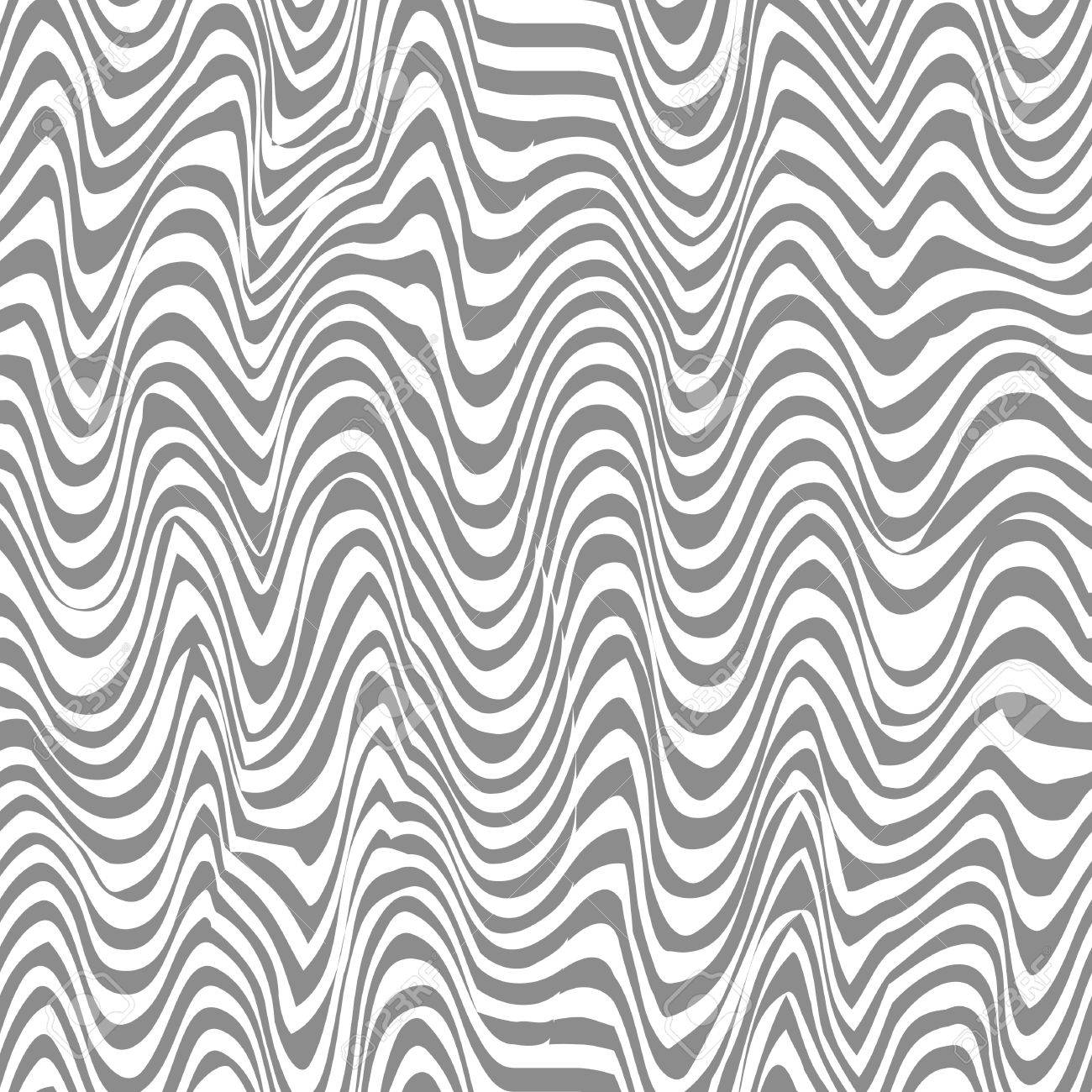 Seamless black and white abstract line vector pattern - 4391411