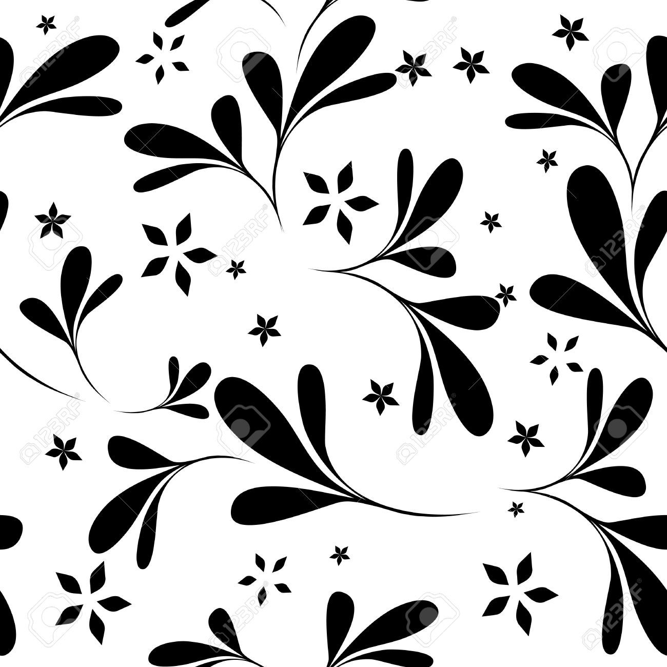 Seamless Black White Flower Wallpaper Royalty Free Cliparts