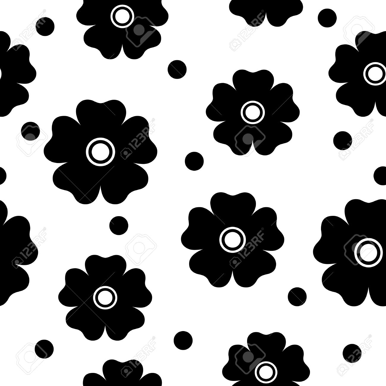 Simple black and white repeating flower background royalty free simple black and white repeating flower background stock vector 4644687 mightylinksfo