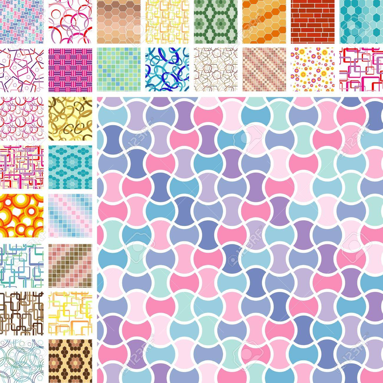 Many retro seamless color patterns Stock Vector - 5502053