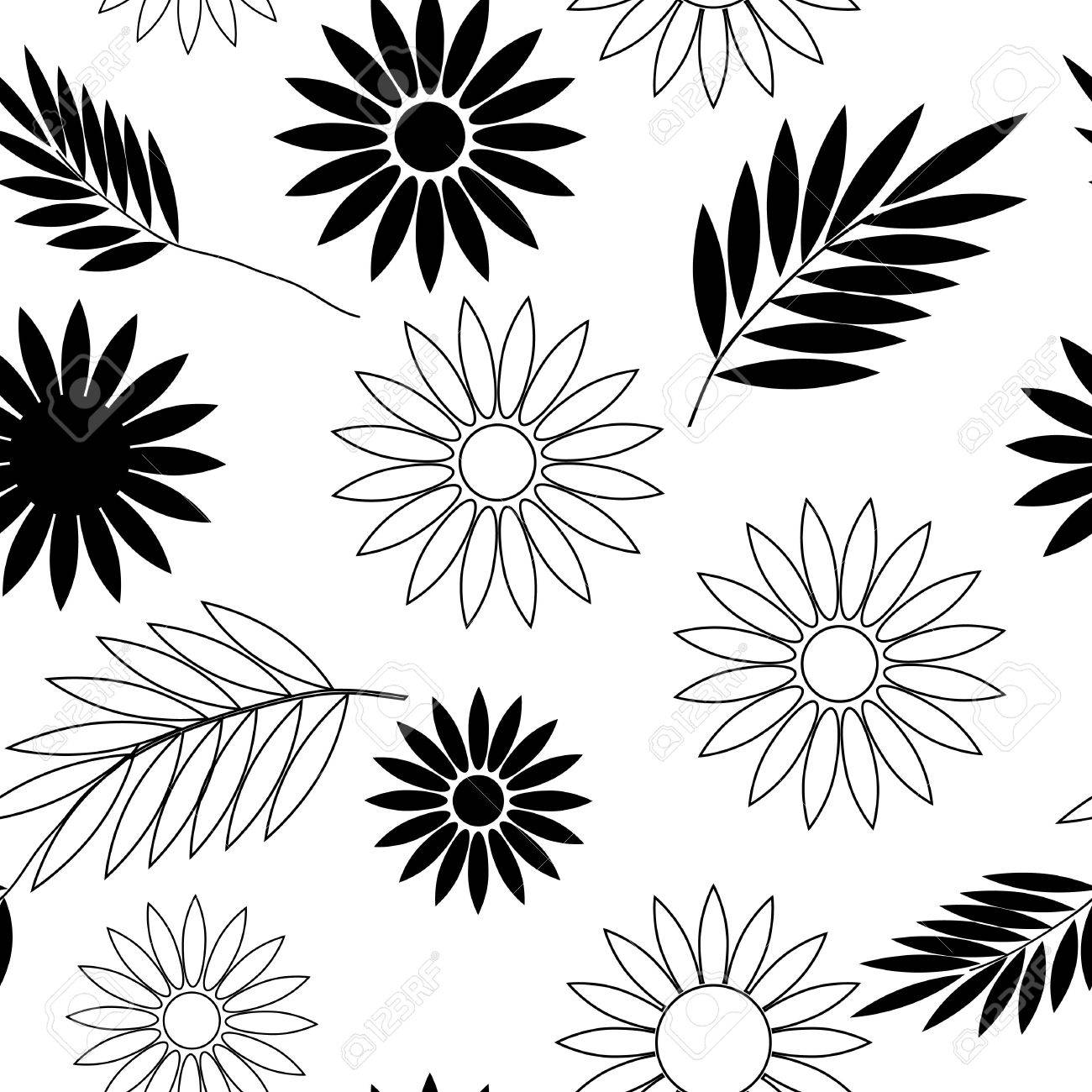 Seamless Black And White Flower Wallpaper Royalty Free Cliparts