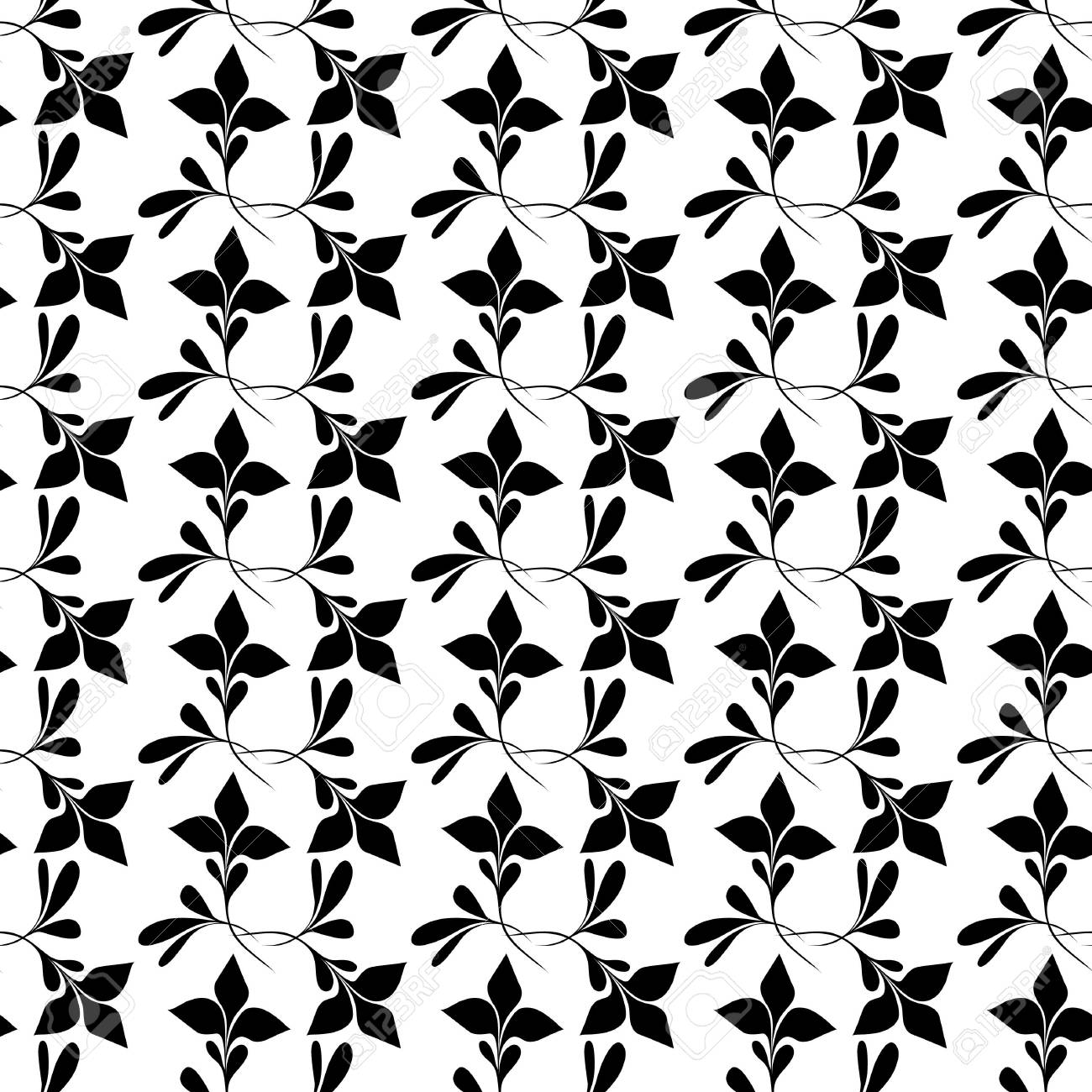 Seamless black and white floral wallpaper Stock Vector - 6684843