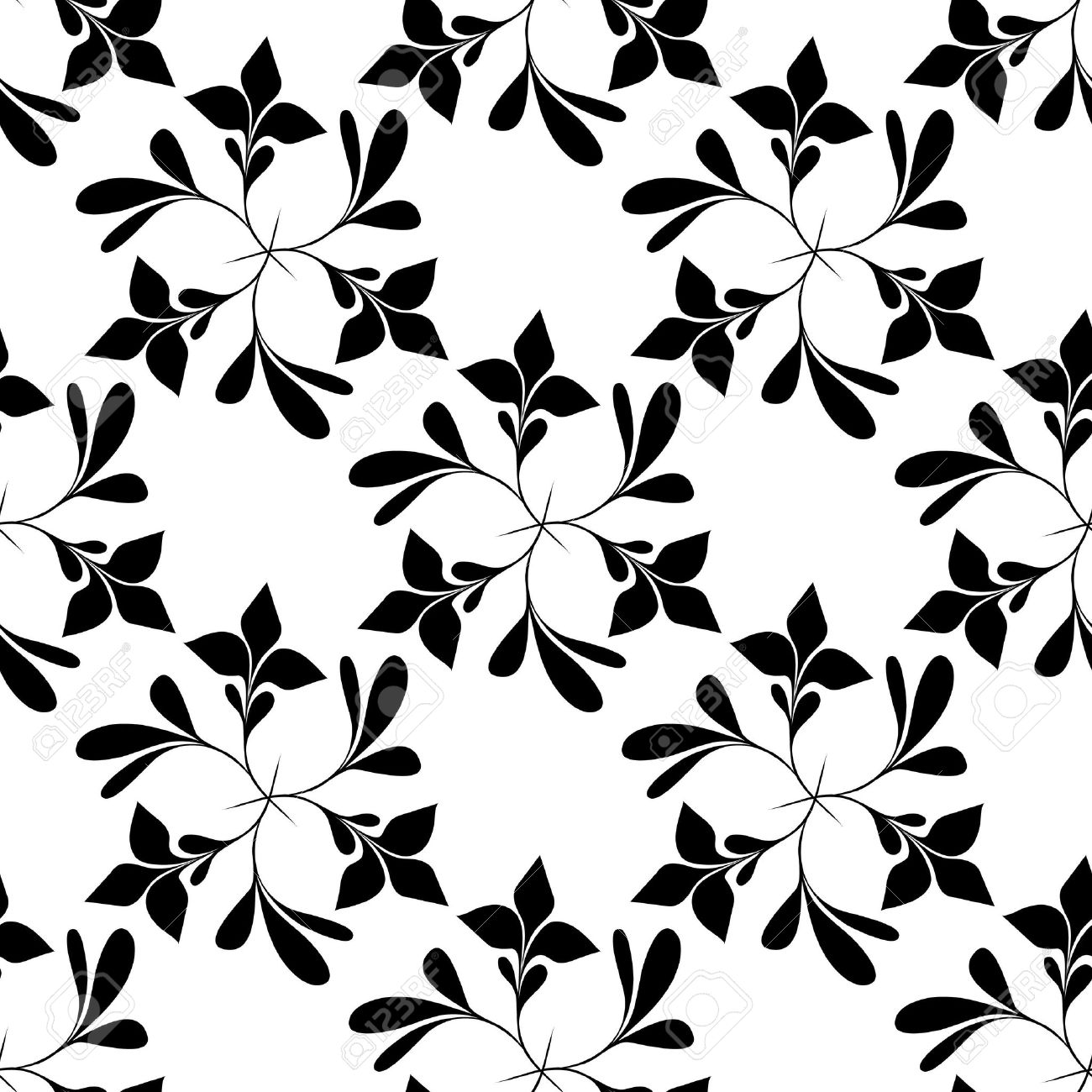 Seamless Black And White Floral Wallpaper Royalty Free Cliparts