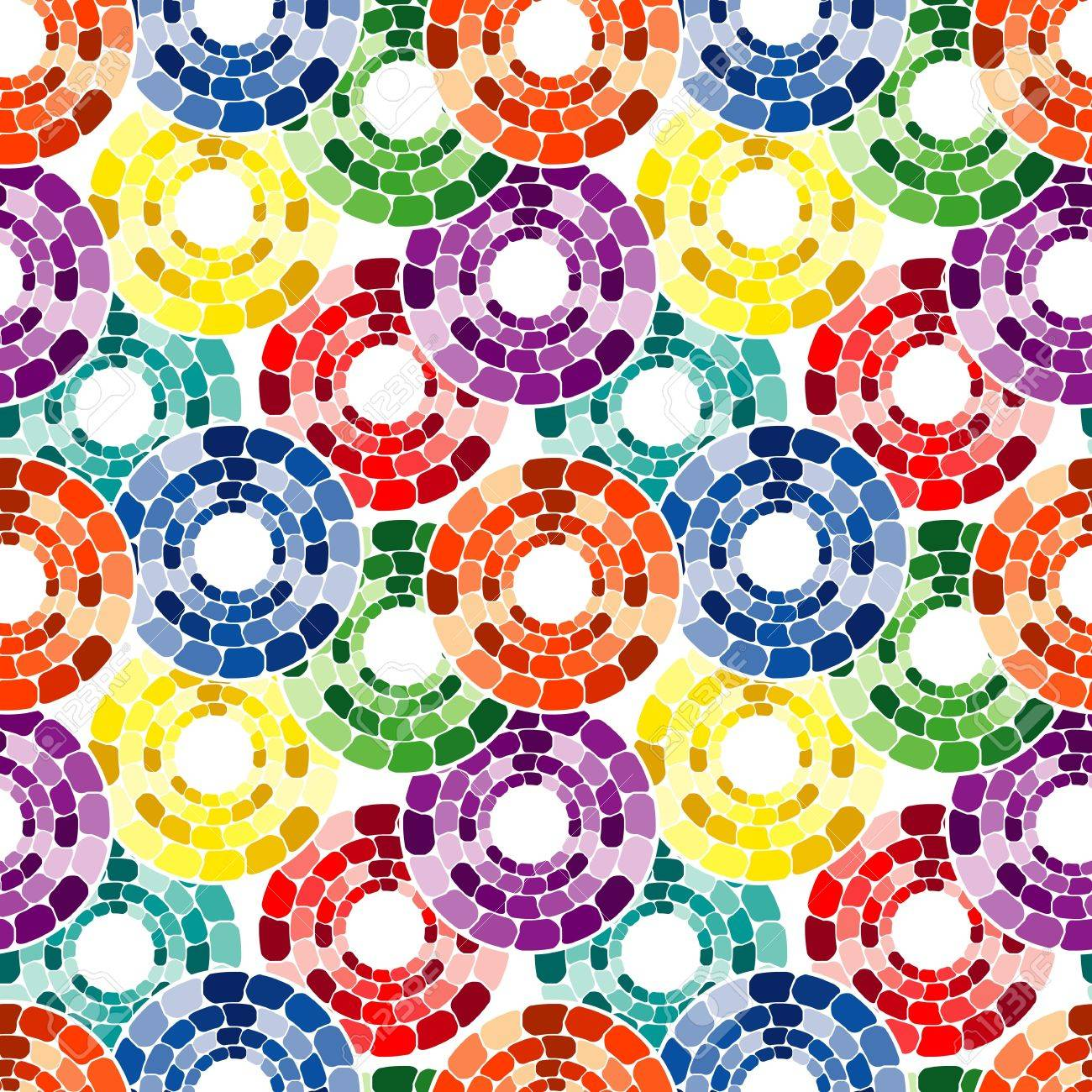 Circle Tiles Seamless Pattern With Multicolor Circle Tiles On White Royalty