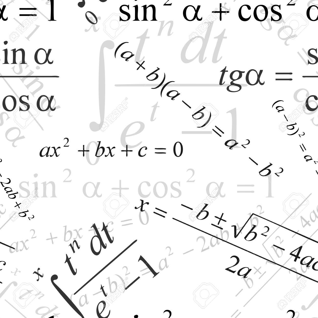 シームレス壁紙白の数式でのイラスト素材 ベクタ Image