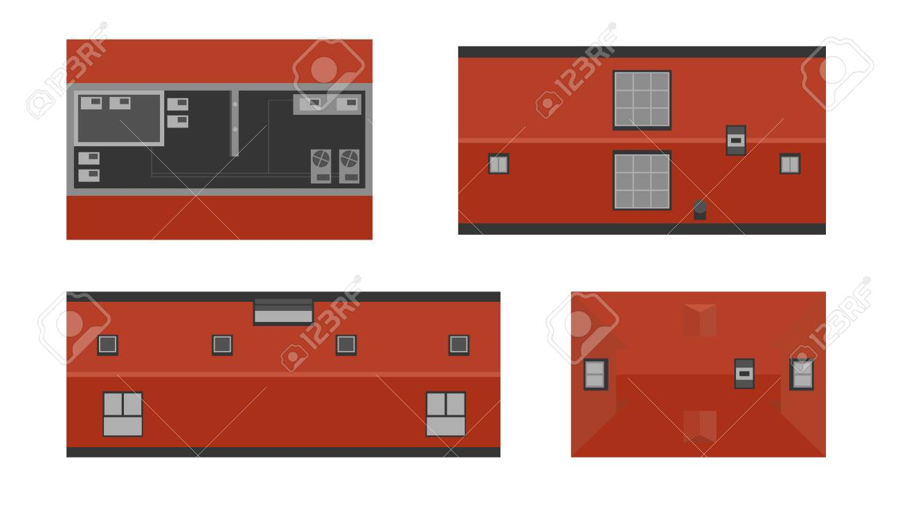 Set of buildings from above, top view. Realistic modern houses isolated on white background. City landscape elements. Simple cartoon cityscape. Flat style vector illustration. - 114296233