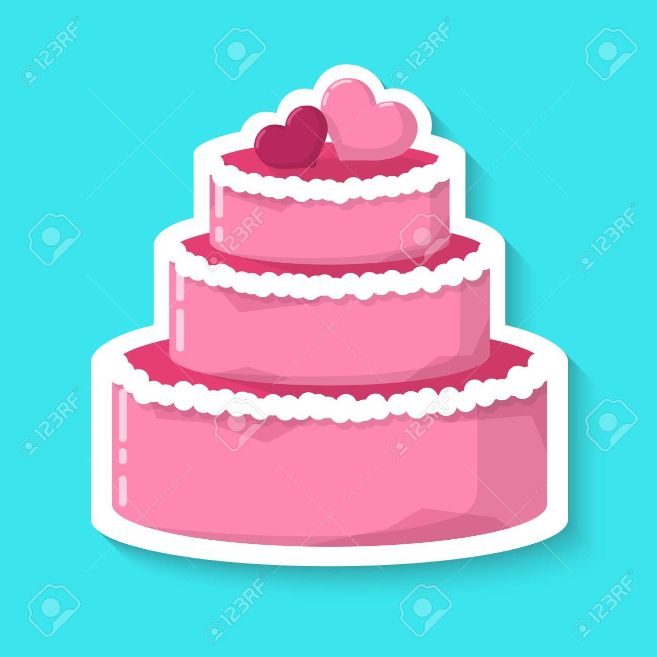 Wedding Cake Isolated On A Blue Background Big Pink Cake Realistic