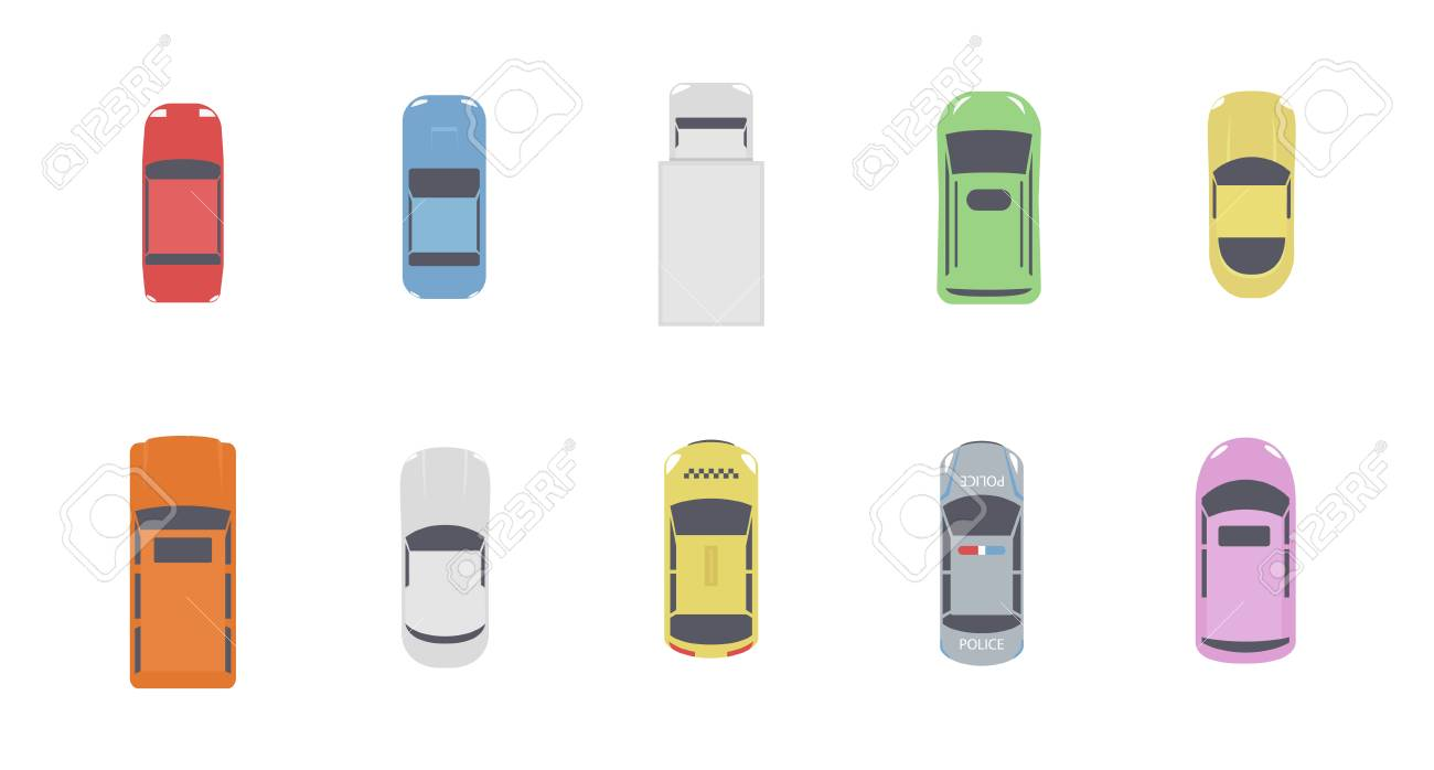 Set of cars top view. Different city vehicle transport views from the air or from the bird's eye. Isolated icons of auto cars from above. Simple flat cartoon vector illustration. - 114296988