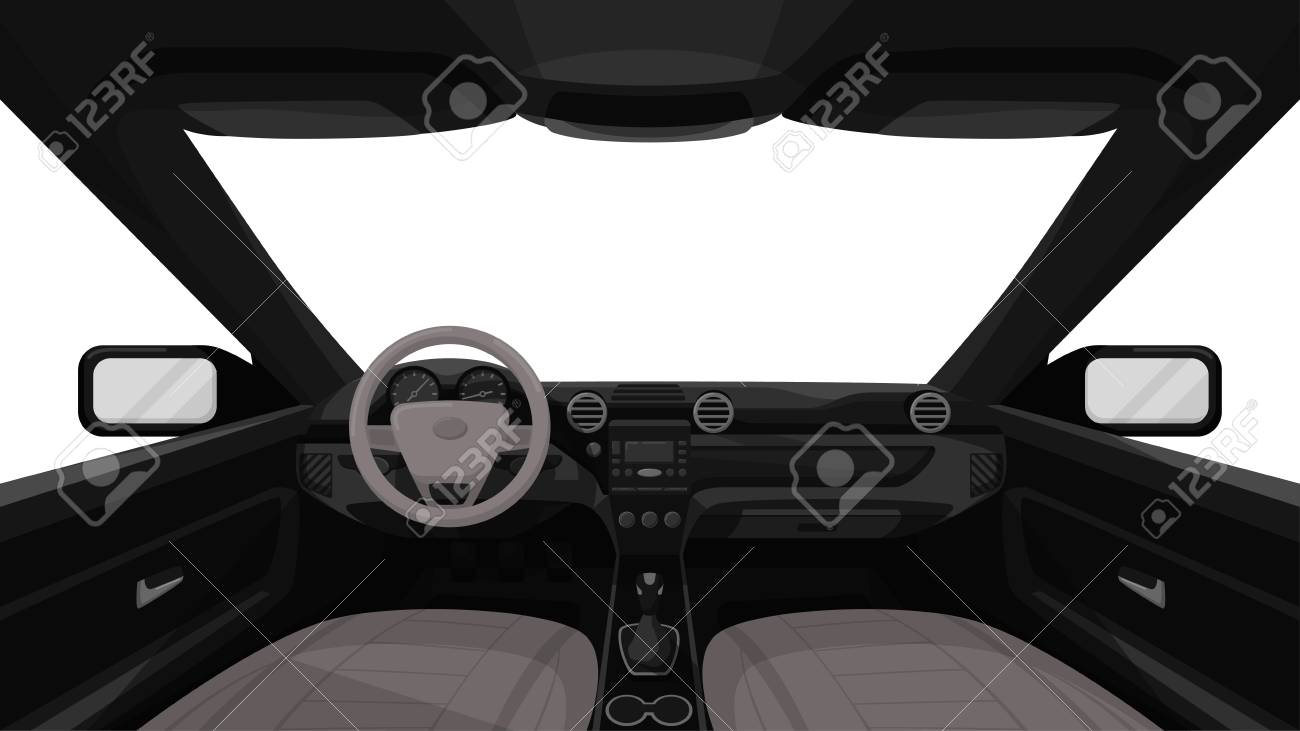Car salon. View from inside of vehicle. Dashboard front panel. Driver view. Simple cartoon design. Realistic car interior. Flat style vector illustration. - 114296989