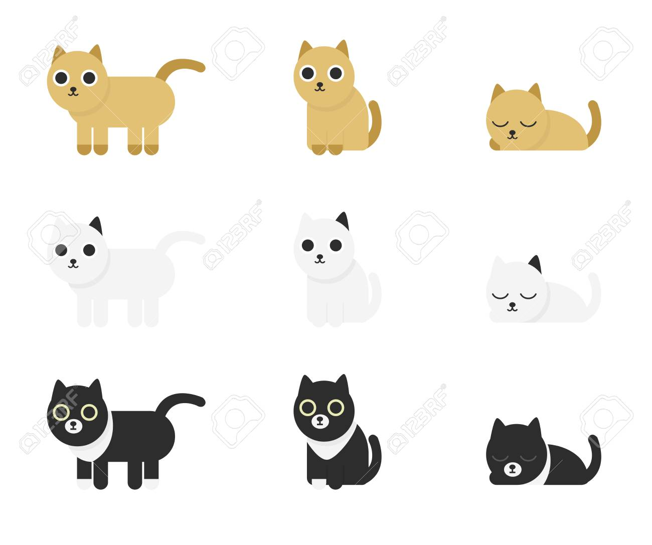 Different Cute And Funny Cartoon Cats Set Isolated On White