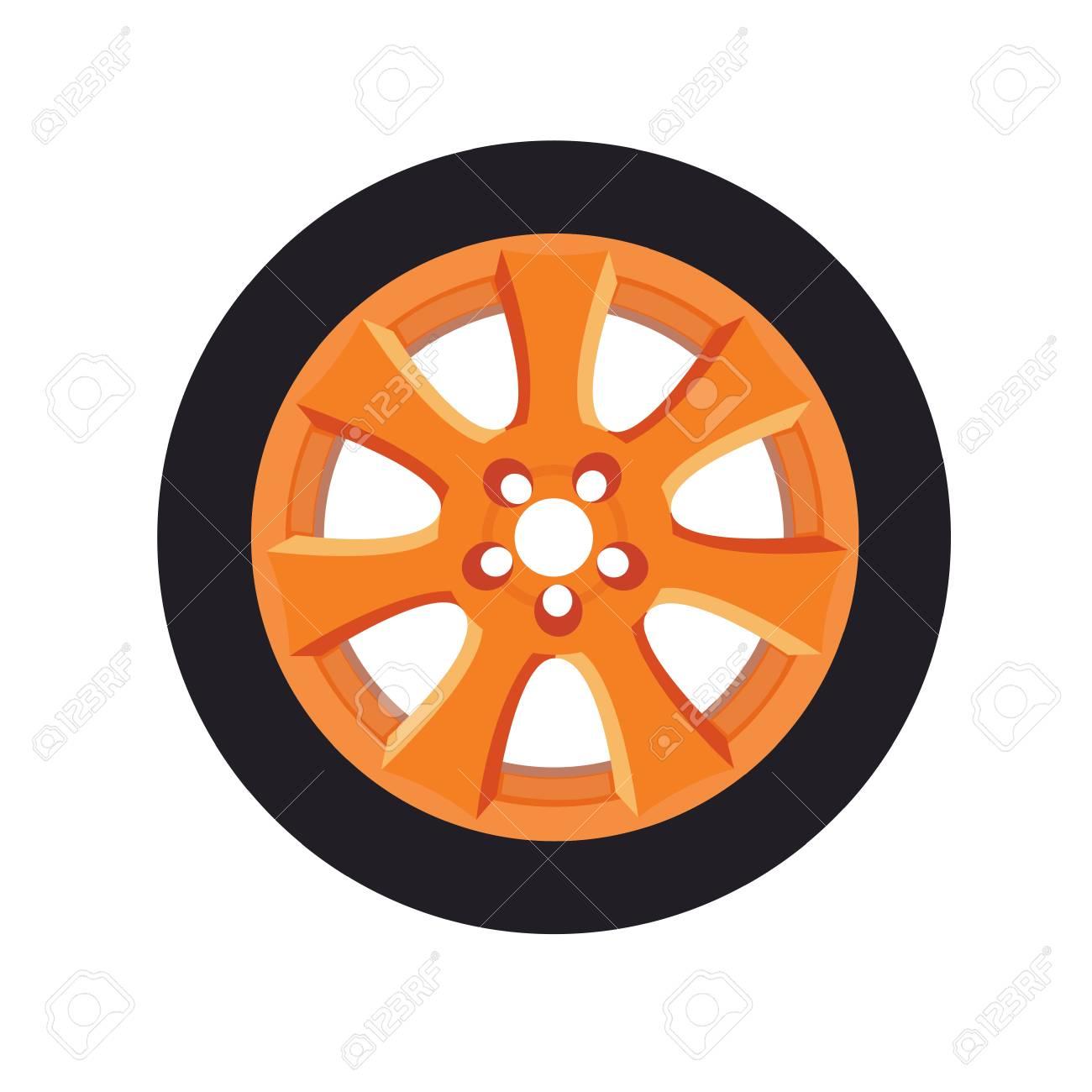 Beautiful Cartoon Detailed Orange Car Wheel Vector Illustration Royalty Free Cliparts Vectors And Stock Illustration Image 114297448