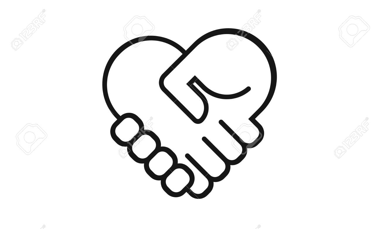 Handshake heart icon isolated on a white background. Simple modern design. Heart symbol, hands. Logo on business, cooperate, teamwork or partnership topics. Flat style vector illustration. - 142904312