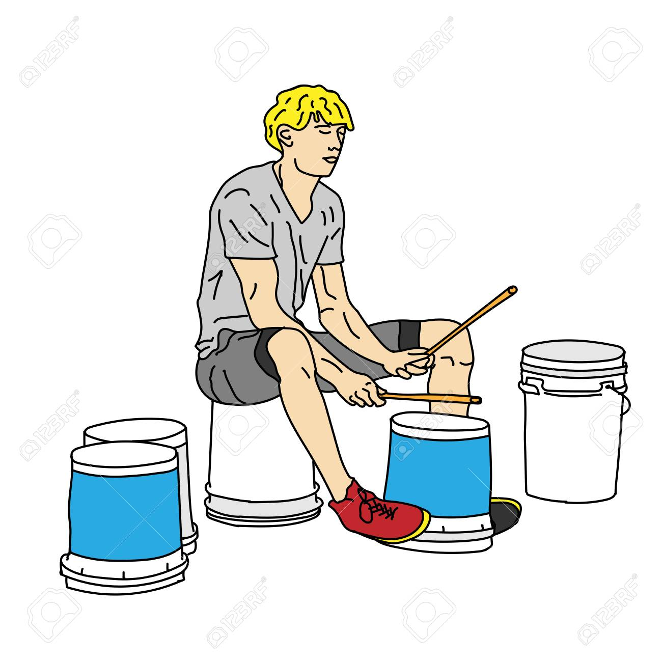 A Young Man Is Drumming On The Plastic Buckets On The Street Royalty Free Cliparts Vectors And Stock Illustration Image 98554195