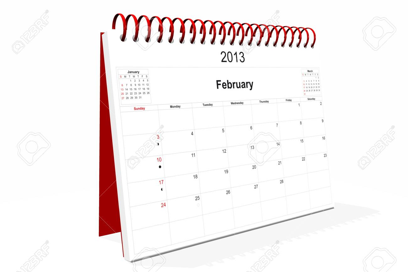 3d computer graphics in a 2013 calendar designed by computer using design software, isolated on white background Stock Photo - 15467388