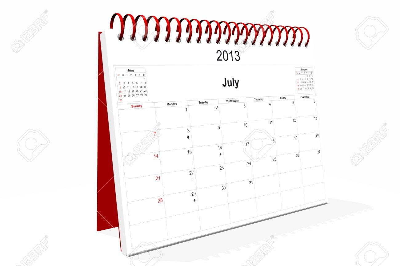 3d computer graphics in a 2013 calendar designed by computer using design software, isolated on white background Stock Photo - 15467383