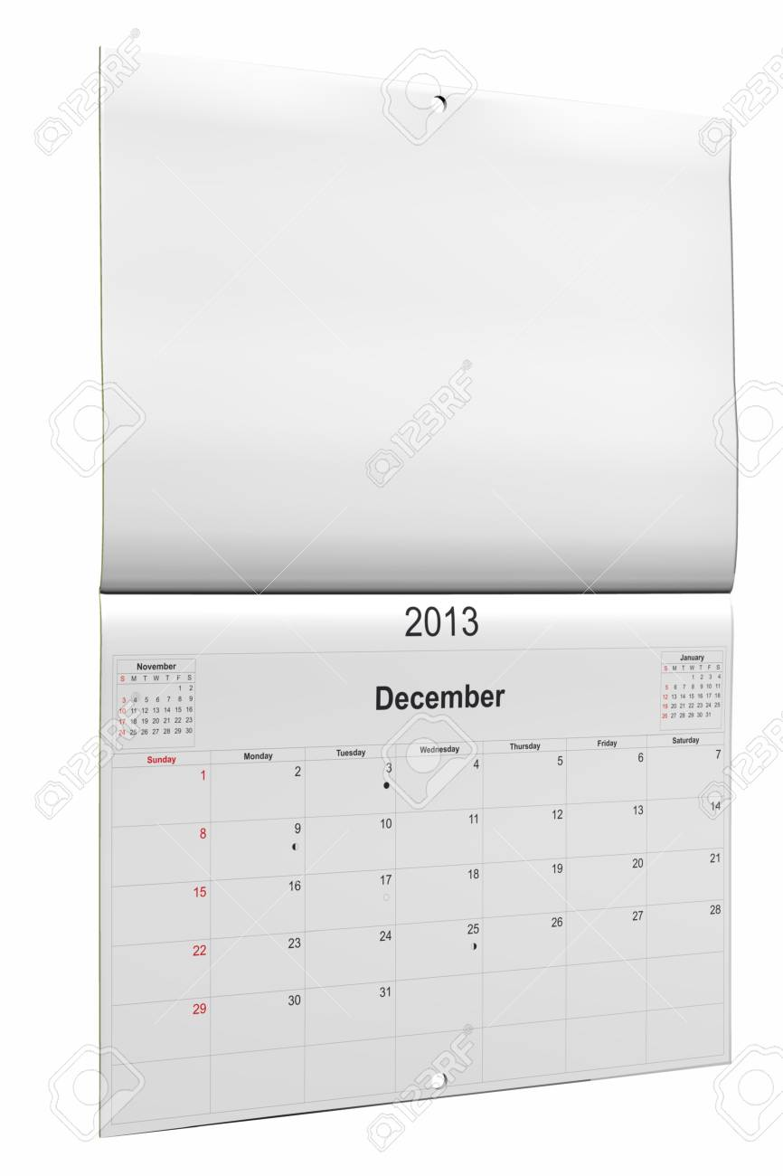 3d computer graphics in a 2013 calendar designed by computer using design software, isolated on white background Stock Photo - 15467338