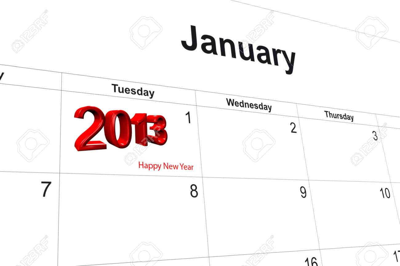 3d computer graphics in a 2013 calendar designed by computer using design software, isolated on white background Stock Photo - 15586677