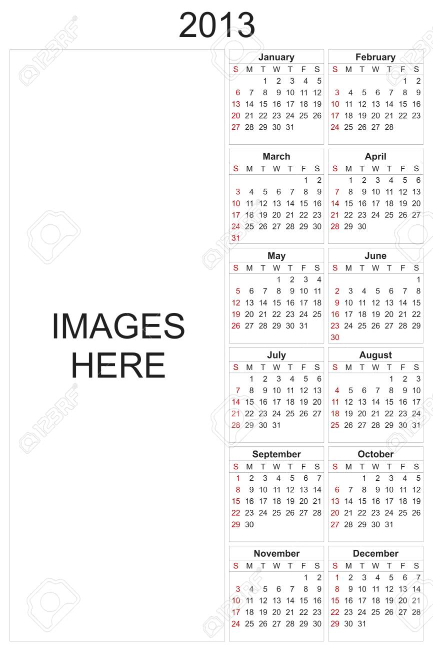 2013 calendar designed by computer using design software, with white background Stock Photo - 17222391