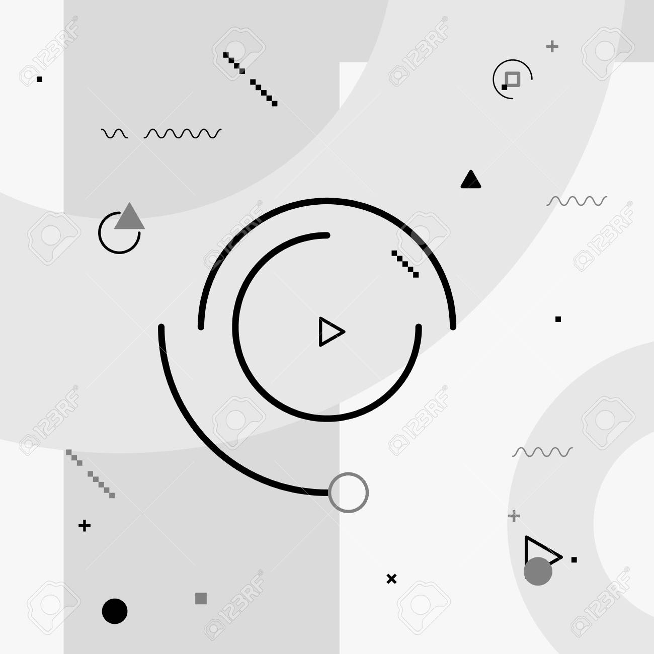Motion graphics elements  Black and white composition  Vector