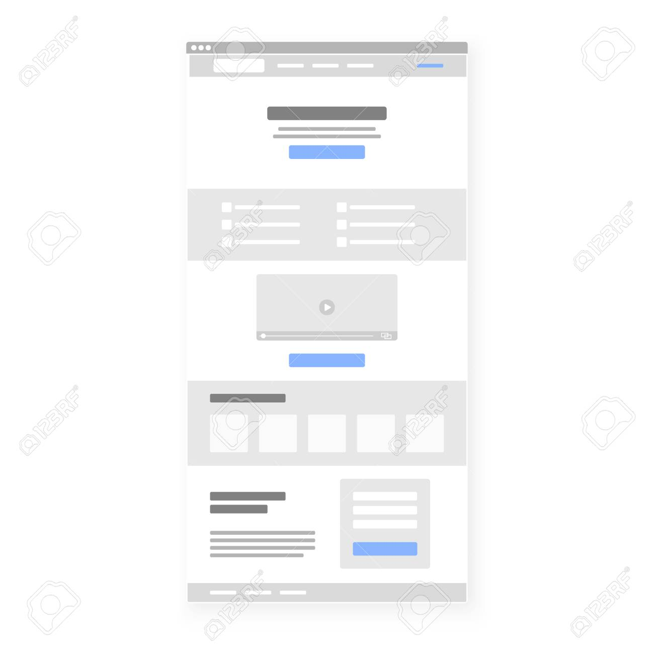 Structure Template Of Landing Page. Call To Action Button Selected ...