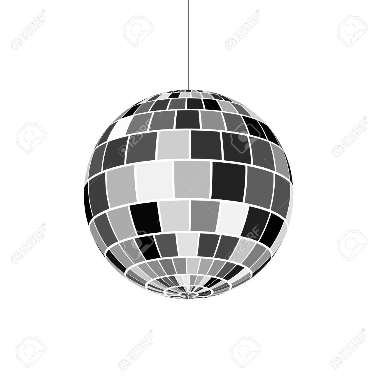 Disco ball icon. Symbol nightlife of 70s. Retro disco party. Vector illustration - 90027541