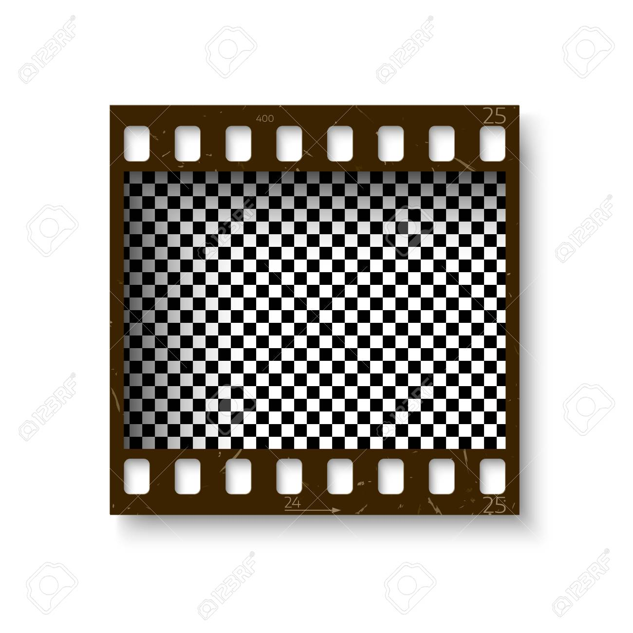 Realistic Retro Frame Of 35 Mm Filmstrip With Shadow Isolated ...