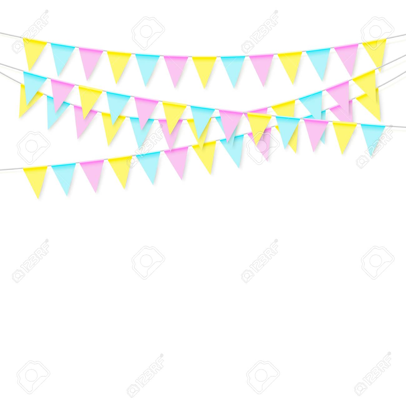 colorful realistic soft colorful flag garland with shadow celebrate