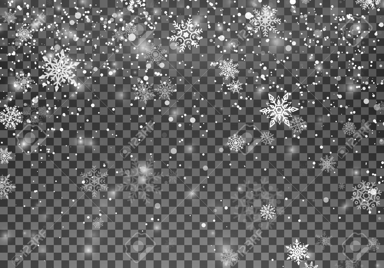 Magic Christmas snow. Abstract Snowfall holiday background. Falling snowflakes on dark background. Vector illustration isolated on transparent background - 127129787