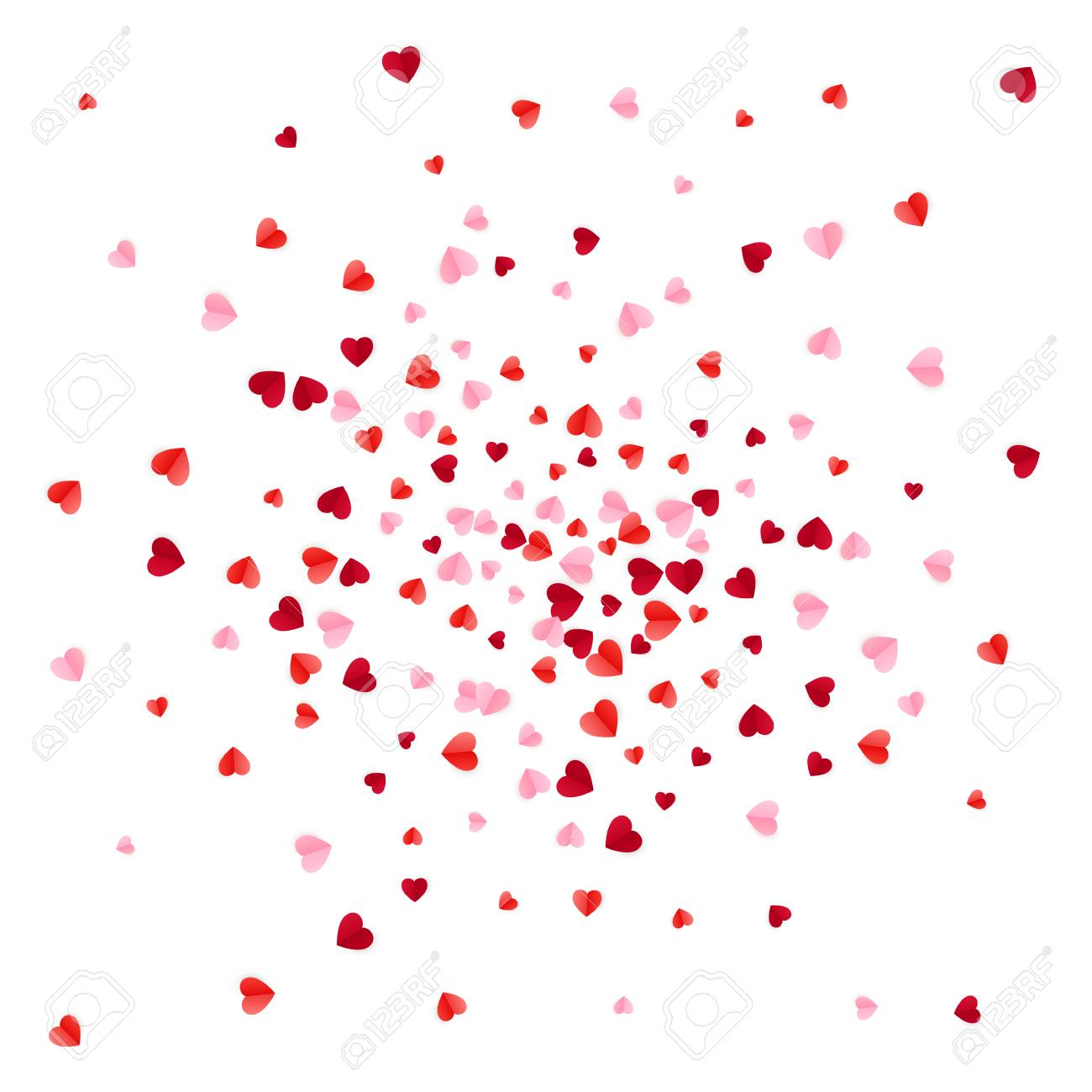Red and pink scatter paper hearts confetti. Vector illustration isolated on white background - 126582313